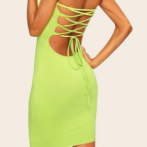 lace up back body con dress